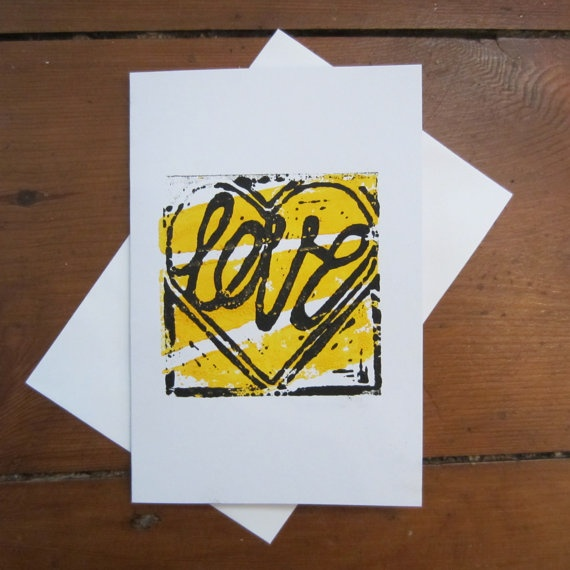 LOVE HEART CARD (Yellow Background) on Etsy, £2.05