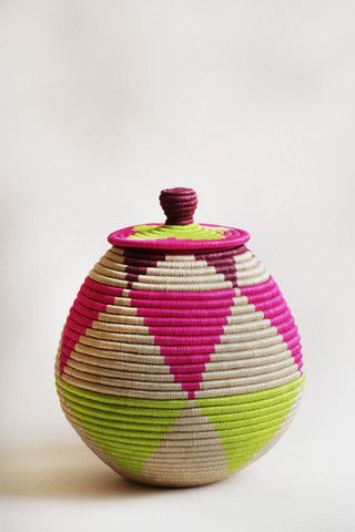 """Indego Africa: marrakech inspired. - handwoven sisal & sweetgrass - locally sourced natural fibers - natural, pink & green - 14"""" x 14"""""""