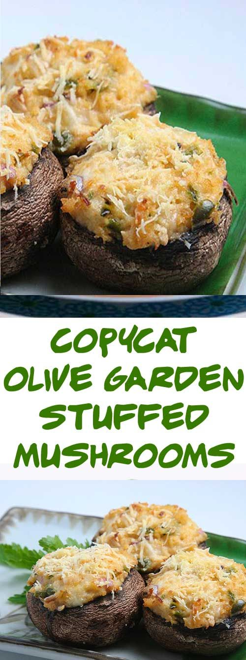 Olive Garden Stuffed Mushrooms some of the best known stuffed mushrooms. They are easy to make, and you can make as many as you want. #copycatrecipe #stuffedmushrooms #olivegarden via @Flavoritenet