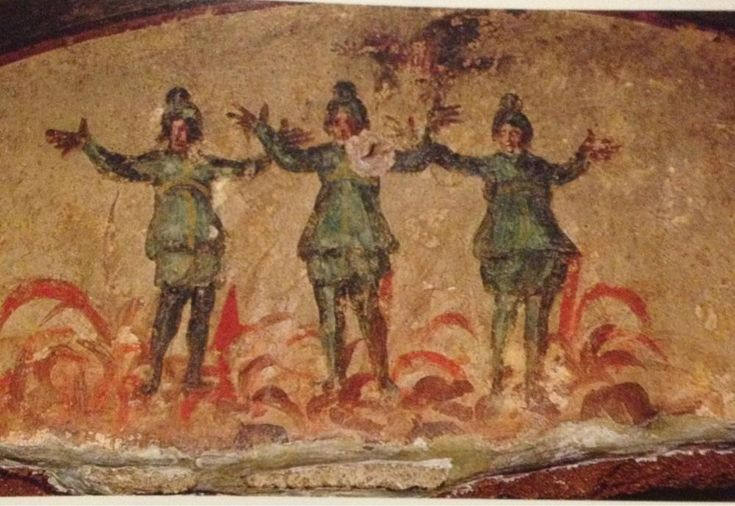 Priscilla catacombs, the three man in the fiery furnace