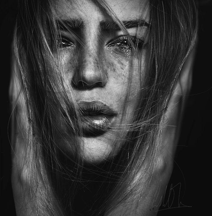 the voice in my head, self-portrait by Cristina Otero. Senju-HiMe.deviantart.com on @deviantART