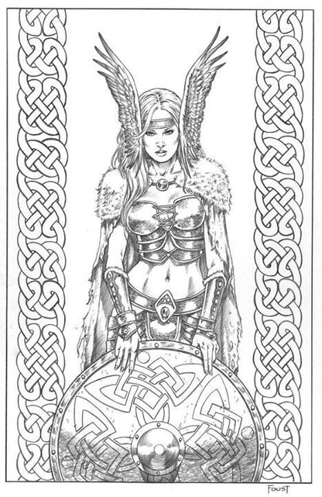 find this pin and more on art linework sketches valkyrie norse mythology coloring page