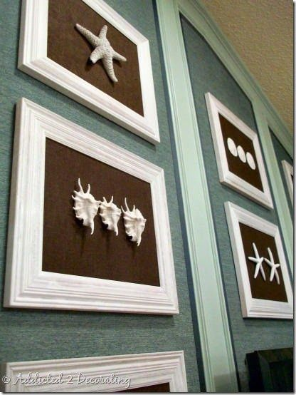 Shell art- For upstairs bathroom. Spray paint shells from dollar store and glue to cloth lined frames.