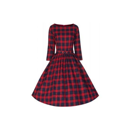 Lindy Bop Holly Tartan Retro šaty ve stylu 50. let. Nádherné šaty v tartan kostce - kombinace tmavě modré a červené, příjemný materiál podobný flanelu (100% bavlna), vhodné pro jaro či chladnější léto. Skvěle padnoucí střih s tříčtvrtečním rukávem, pásek součástí, doporučujeme doplnit spodničkou z naší nabídky pro dokonalý vzhled sukně.