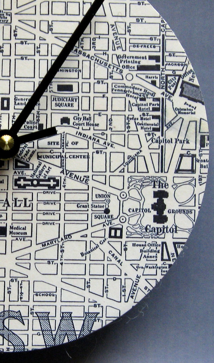 Washington Dc Map National Mall%0A Clock made from a      map of Washington DC by paperannie on Etsy            Home decor   Pinterest   Clocks and Walls