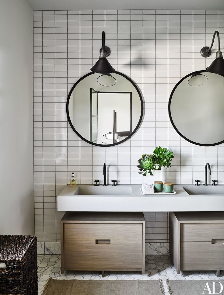 A double vanity in a guest bath.