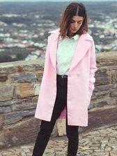 Pink Lapel Pockets Long Sleeve Coat