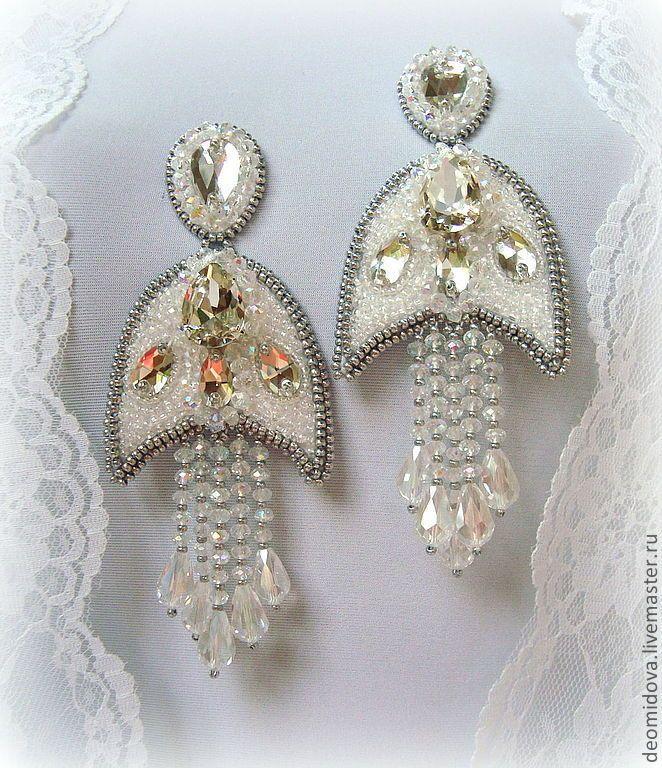 """Купить """"Хрустальный Цветок"""" серьги + кольцо с кристаллами и хрусталем - белый, романтичные серьги"""