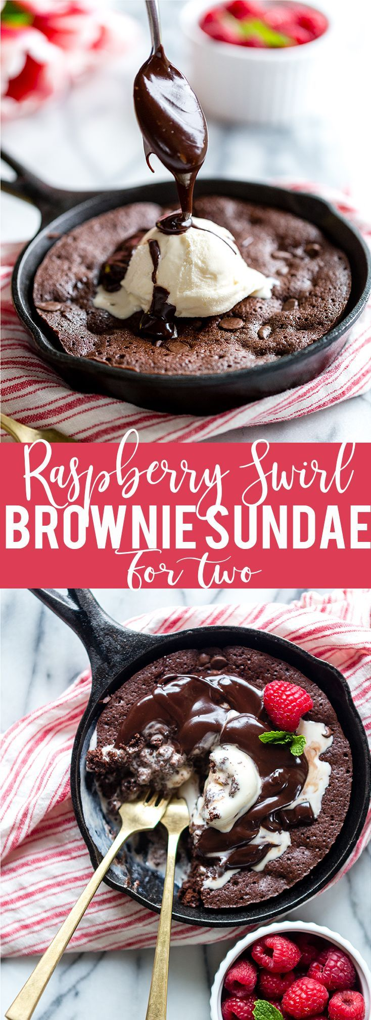 Raspberry Swirl Brownie Sundae