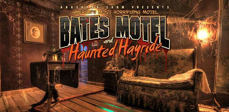 Mobile Site - The Bates Motel and Haunted Hayride in Glen Mills Pennsylvania 1835 Middletown Road, Glen Mills, PA 19342 Advertised as America's most horrifying motel, Bates Motel has been operating as a haunted attraction for over 20 years. It is truly one of the great haunted attractions in America. Bates Motel built detailed Hollywood styled movie sets such as putting a New England type church onsite. They have other 100 foot scenes, amazing pyrotechnics and around 100 actors.