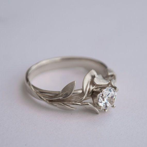 Leaves Engagement Ring, leaf ring, White Gold and Diamond engagement ring, engagement ring, filigree, antique, art nouveau, vintage, 4 – Devin M.