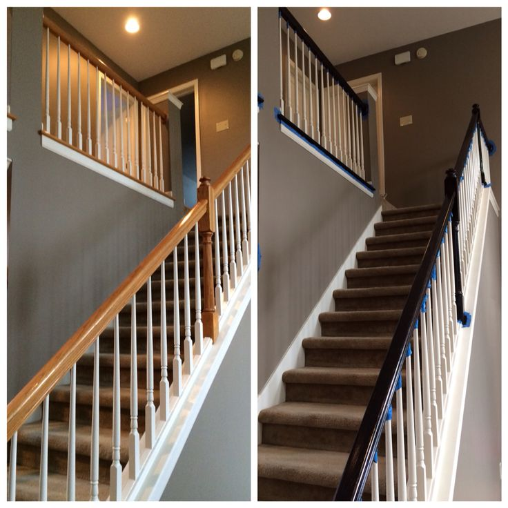 Painted Banister Railing To Match Updated Floors. Minwax PolyShades In  Espresso. No Need To