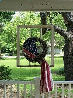Patriotic . . . Love the window AND the wreath