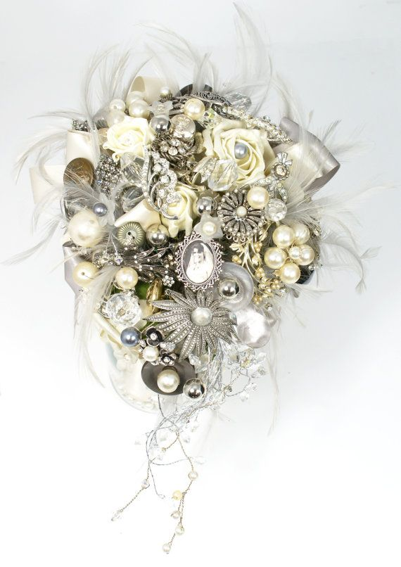 Brooch Bouquet  Jeweled Bouquet  Feather by savingfacejewellery, £100.00
