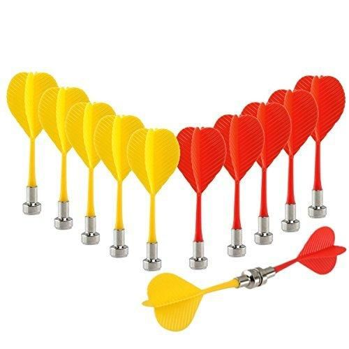 12pcs Replacement Durable Safe Plastic Wing Magnetic Darts Bullseye Target Game Toys (Red Yellow)