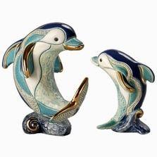 Dolphin on Wave Family Ceramic Figurines | De Rosa | Rinconada