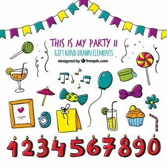 誕生日パーティー手描きセット