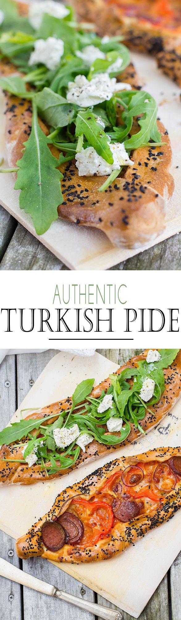 Authentic Turkish Pide Pizza with Sucu, Arugula and goat cheese | Türkische Pide mit Sucuk, Rucola und Ziegenkäse