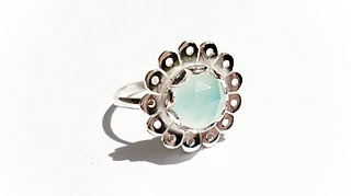 Silver Daisy Mae Ring with Rose Cut Blue Chalcedony