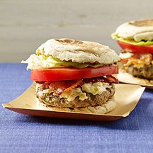 WW Bacon and Cheese Turkey Burgers - 9 Points - 4 Servings - Prep time 20 minutes (patties can be made up to 2 days ahead) Cook time 12 minutes - Portobello mushroom, shallot, reduced calorie mayo, fresh rosemary, kosher salt, Worcestershire sauce, 1 lb 93% lean ground turkey, 1/2 oz Gruyère cheese, shredded (2 Tbsp), low fat cream cheese, Dijon mustard, cooking spray, light English muffin, reduced-fat cooked crisp bacon, fresh tomato, lettuce.