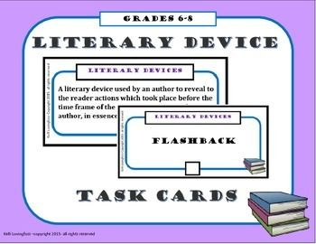 This is a set of 60 cards (20 terms each with a definition and example card) to teach middle school students about various literary devices. Those included are:Alliteration, Allusion, Assonance, Characterization, Conflict, Flashback, Foreshadowing, Hyperbole, Imagery, Irony, Metaphor, Mood, Onomatopoeia, Oxymoron, Personification, Setting, Simile, Symbolism, Theme, and ToneCheck out my store for many other types of task cards!Idiom Task CardsSentence Type Task CardsCharacterization Task…