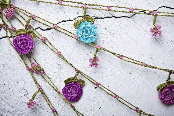 "turkish lace - needle lace - crochet - oya necklace - 173.23"" - free worldwide shipment with UPS - bahar-017"