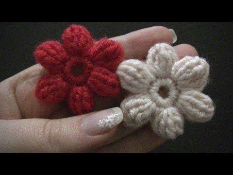 ▶ Blume häkeln - einfach und schnell - 6 Blätter - 3D Blume - YouTube