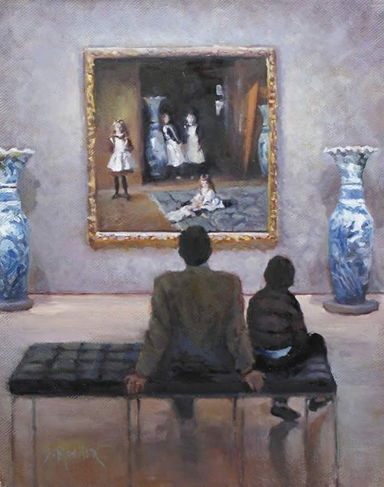 Oh my goodness...how very many times I have sat on that very same bench in my favorite room at the Boston Museum of Fine Arts, studying that Sargent painting framed by the two actual vases. Way cool!!