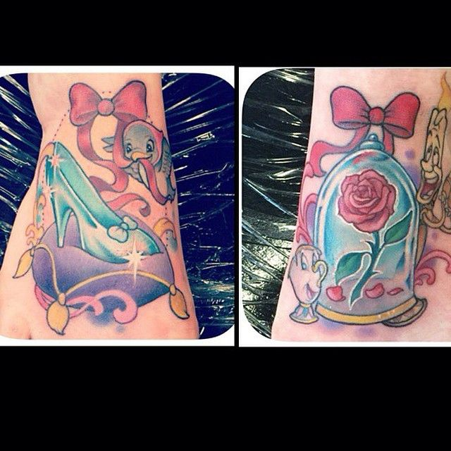 """""""Beauty and the Beast and Cinderella piece by @allyriley on @claire_grace!#disneytattoos #disneytattoo #disneytatts #disney #disneyland #disneyworld…"""""""