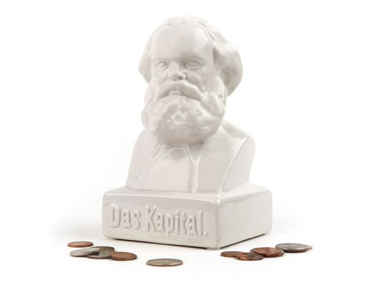 "Whether you're part of the bourgeoisie or the proletariat, we all need to save money, so stuff your own ""kapital"" into the bust of the philosopher Karl Marx  Kikkerland Design Inc » Products » Das Kapital Coin Bank"