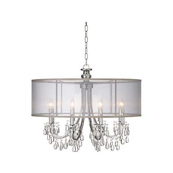 """Hampton Collection 32"""" Wide Chandelier ($798) ❤ liked on Polyvore featuring home, lighting, ceiling lights and shimmer lights"""