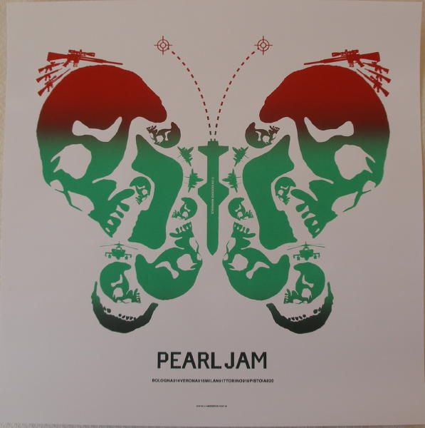 2006 Pearl Jam - Italy Silkscreen Concert Poster by Ames