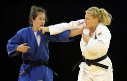 July 14 - Judo - Women's - -78 kg - Final of Table. Catherine Roberge of Canada (blue) lost to Kayla Harrison of the United States (white) in the women's judo -78 kg final of the table during the 2015 Pan Am Games at Mississauga Sports Centre.
