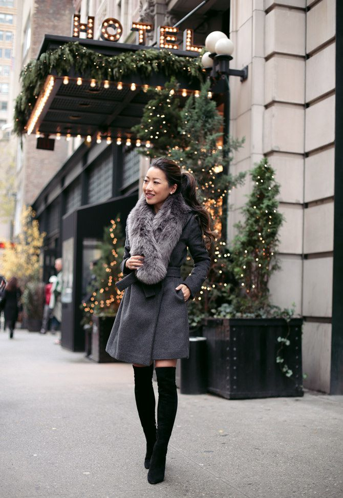 wrap wool coat + faux fur scarf + over the knee boots winter outfit // nyc ace hotel extra petite