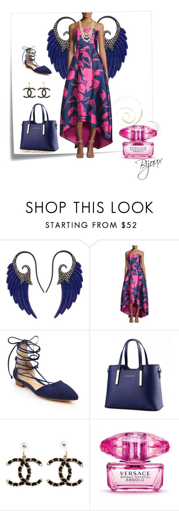 """Blue Angel"" by weirnixie ❤ liked on Polyvore featuring Post-It, Noor Fares, NOIR Sachin + Babi, Schutz, Eurø Style, Chanel, Versace and Marco Bicego"