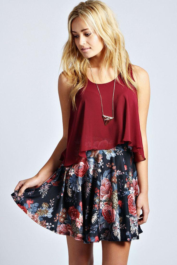 Tapestry Floral Skater Skirt in Berry