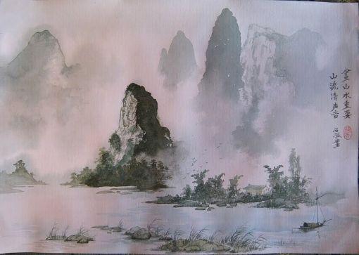 Туман, окружающий горы, символизирует духовное пространство,которое предстоит заполнить зрителю.