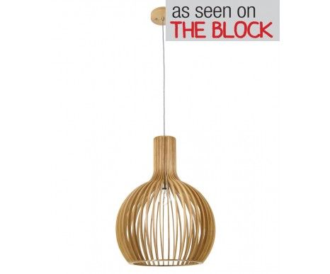 Malmo 1 Light 450mm Pendant in Natural Wood | Modern Pendants | Pendant Lights | Lighting - beacon lighting