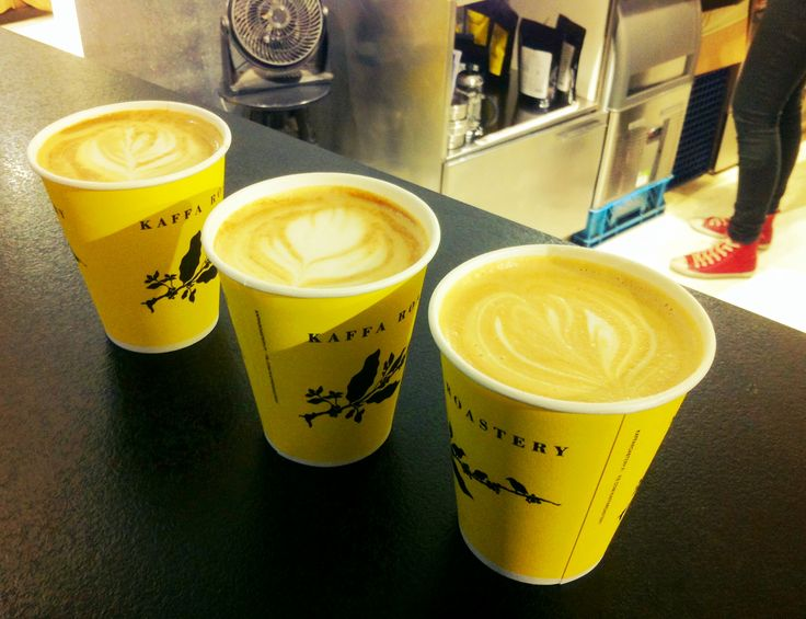 Caffè latte and soy lattes from our local roastery, Kaffa Roastery