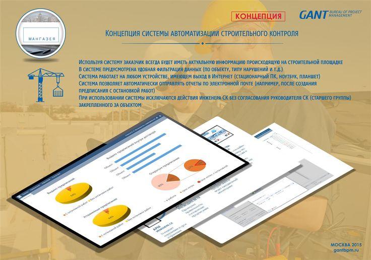 Строительный контроль https://gantbpm.ru/proekty/stroitelnyj-kontrol/  Сотрудники консалтинговой компании GANTBPM разработали концепцию системы автоматизации строительного контроля для группы компаний.  Пользуясь системой, Заказчик в любой момент будет владеть актуальными сведениями о событиях, происходящих на строительной территории.  Система автоматизации имеет удобные фильтры информации, позволяющие сортировать данные по виду нарушений, объекту и т.д.  Программа работает на любом гаджете…