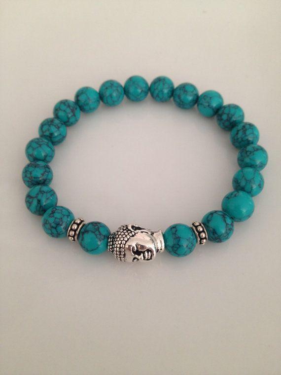 Bracelet turquoise et argent Bouddha par TheArtsyNomad sur Etsy