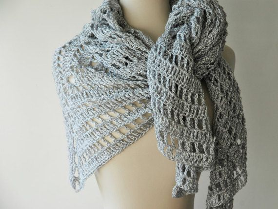 Silver triangle shawl in lacy crochet by KororaCrafters