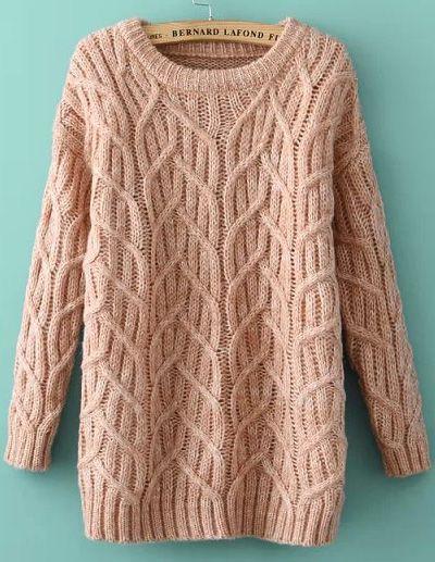 Shop Khaki Long Sleeve Cable Knit Loose Sweater online. Sheinside offers Khaki Long Sleeve Cable Knit Loose Sweater & more to fit your fashionable needs.