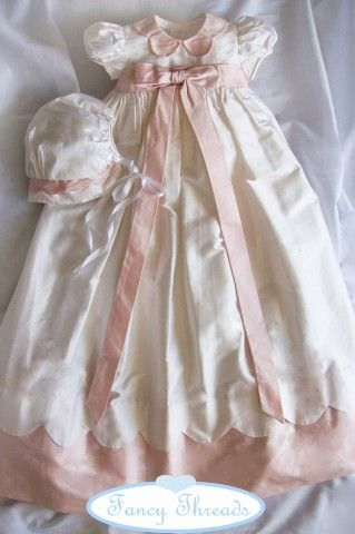 White and pink christening gown from Fancy Threads by Little Threads
