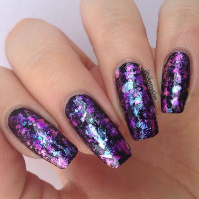 Flakies Glitter Nail Art- Bling Nail Ideas for You 👈more details share here. Have a nice try!