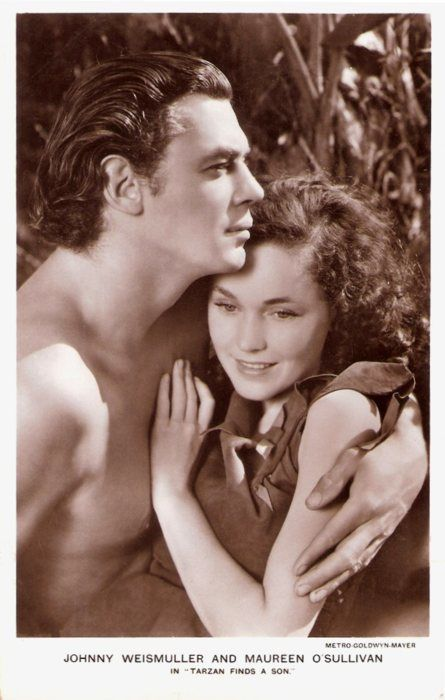 Johnny Weismuller & Maureen O'Sullivan 1939   (Me Tarzan, You Jane, boy do I remember watching these as a small child.)