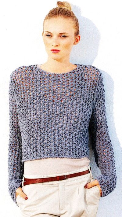 See Through Fishnet Sweater Knitting Pattern PDF