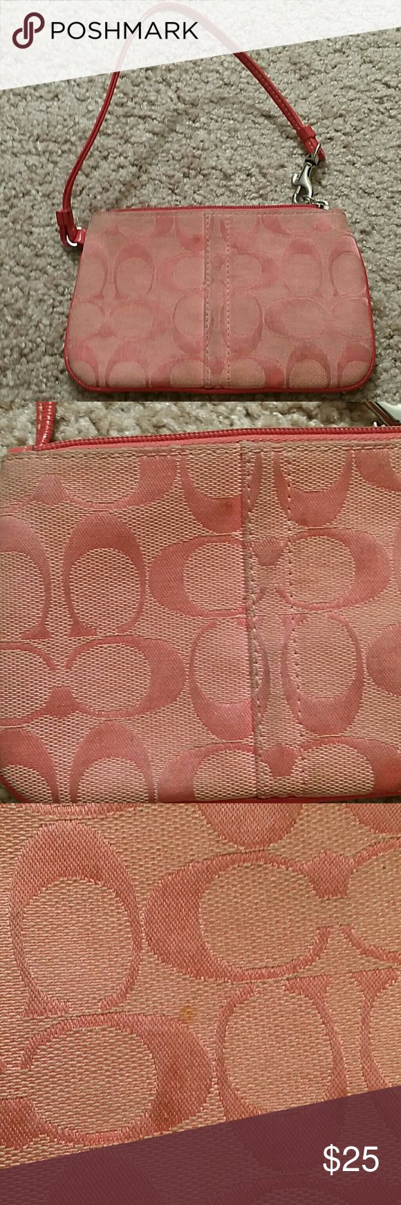 Women's wristlet Coach wristlet. Slightly dirty, I tried to photograph the spots and where it's dirty. Good condition in terms of the material. Coach Bags Clutches & Wristlets