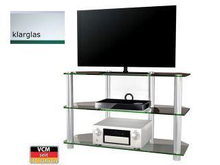 VCM TV-Möbel Bigona XXL Klarglas großes Aluminium TV Rack