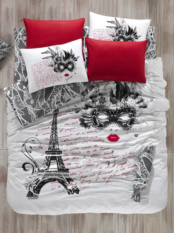 100%Cotton 3pcs PARIS EIFFEL TOWER The Mask Single Twin Size Quilt Duvet Cover Set Bedding Linens